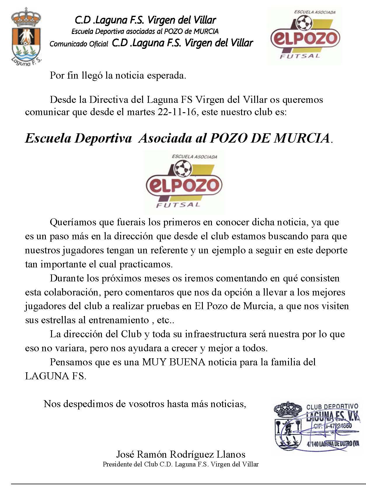 Comunicado Club escuela asociada El POZO